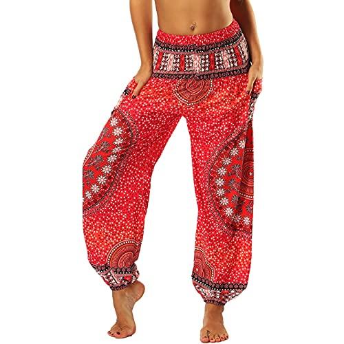 Nuofengkudu Mujer Pantalones Hippies Tailandeses Estampado Verano Cintura Alta Elastica con Bolsillos para Yoga Casual Rojo Flor