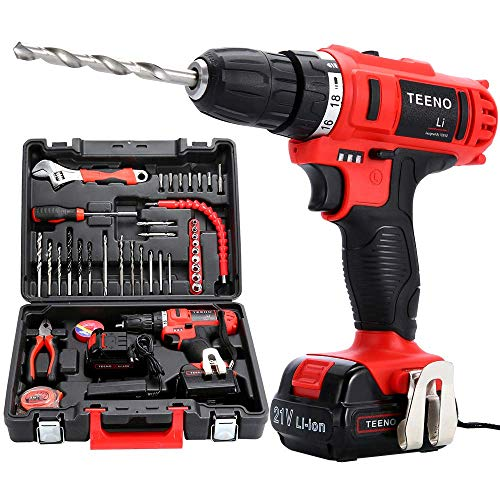 puissant TEENO Cordless PSR21V Driver + 2 Lithium Batteries + 41 Accessories + Professional Gloves