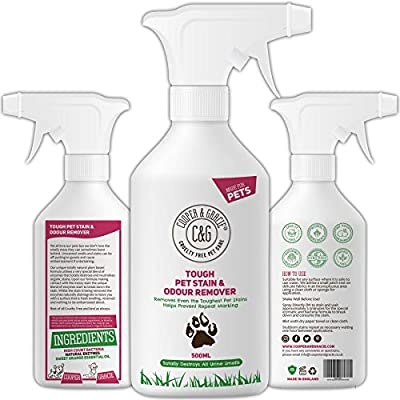 C&G Pets |Tough Pet Stain Urine and Odour Remover 500 ML | Cat and Dog Formula | High Count Bacteria Natural Enzymes Cleaner | Anti-Bacterial Anti-Fungal Prevents Marks Destroys Organic Stains