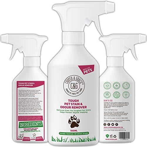 C&G Pets | Rígida para eliminar manchas y olores de mascotas 1 litro | Fórmula a base de plantas alto recuento de bacterias enzimas naturales | Antibacteriano antihongos evita marcas