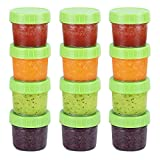 baby blocks food - Glass Baby Food Storage Containers, BPA-Free Airtight Leak-Proof Baby Food Jars with Labels, Set of 12-4 Ounce
