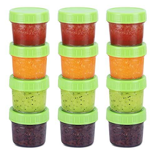 Contenants en verre pour aliments pour bébés, pots de nourriture pour bébés étanches, sans étanchéité à l'air et sans BPA, ensemble de 12 à 4 onces