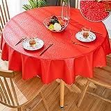 GBFR Mantel de plástico | Mantel redondo rojo de flores | Manteles de hule | manteles impermeables | Mantel de PVC | Resistencia a altas temperaturas | 240 cm