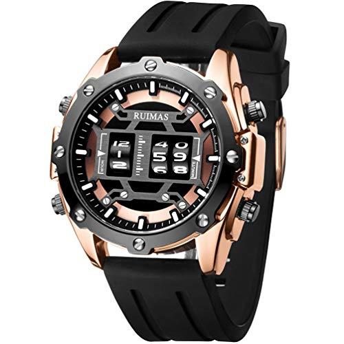 RUIMAS Orologio Uomo Sportivo Digitale Quarzo Oro Rosa con Cinturino in Silicone Nero - Quadrante Grande All Black - Impermeabile