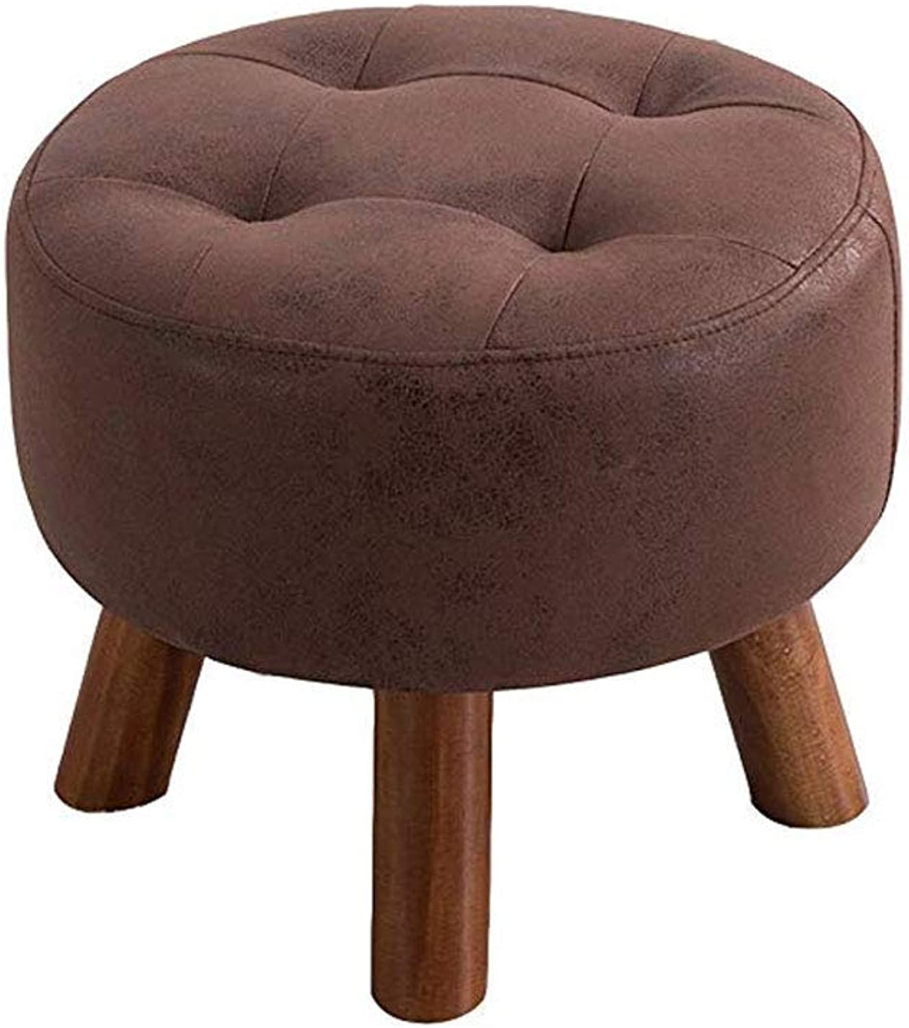 GJD Solid Wood Stool, Small Stool Fashion Creative Sofa StoolTable Wearing shoes Sitting Pier Dressing Footstool,Optional (color   Dark Brown)