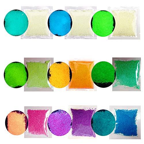 ToBe-U 90G Fluorescente Arena Brillo en la Oscuridad Luminoso Grava Pigmento Color Neón Pinturas Granos Fotoluminiscentes Polvo de luz Partículas para DIY Decoración Artesanía
