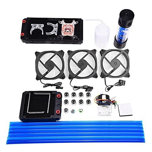 Kit de refrigeración por Agua de CPU DIY, Kit de refrigeración por Agua de Tubo Duro PETG Todo en uno, Disipador de Calor de 240 mm 220 mm | Bloque de Agua de CPU Universal | Depósito Redondo | Bomba
