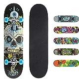 Xootz Kids Snake Skull Complete Beginners Double Kick Trick Skateboard Maple Deck - Snake Skull, 31 x 8 Inches