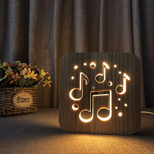 WRISCG Lámpara Escritorio Dibujos Animados Creativo 3D Hueco Lindo Nota Musical de Madera lámpara de Mesa Decorativa USB LED luz de Noche Dormitorio habitación de los ni?os Cumplea 19 *