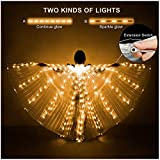 iMucci LED Lights Belly Dance Isis Wings - Bellydance Glow Angel dance Wings with Telescopic Sticks Flexible Rods for Adults and Child Yellow