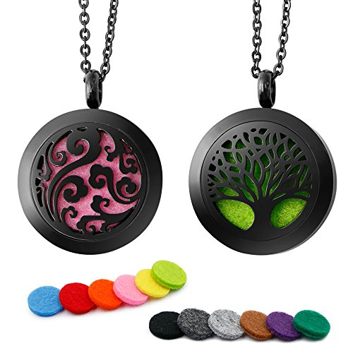 RoyAroma 2PCS Aromatherapy Essential Oil Diffuser Necklace Pendant Locket Jewelry, 24' Adjustable Chain Stainless Steel Perfume Necklace-Black