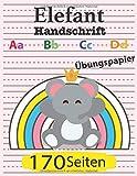 Elefant Schreibbuch: Aa Bb Cc Dd: Übungspapier 170 Seiten: Mädchen Entzückende rosa Elefant linien und gepunktetes Notizbuch für Kindergarten zu Grundschülern der 3. Klasse, Bestes Geschenk für Kinder