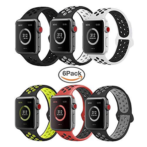 VIKATech Für Apple Watch Armband 42mm 44mm, Weiche Silikon Ersatz Armbänder für Apple Watch Armband 42mm 44mm Series 5/4/3/2/1, Sport, Edition, M/L, 6 Pack B