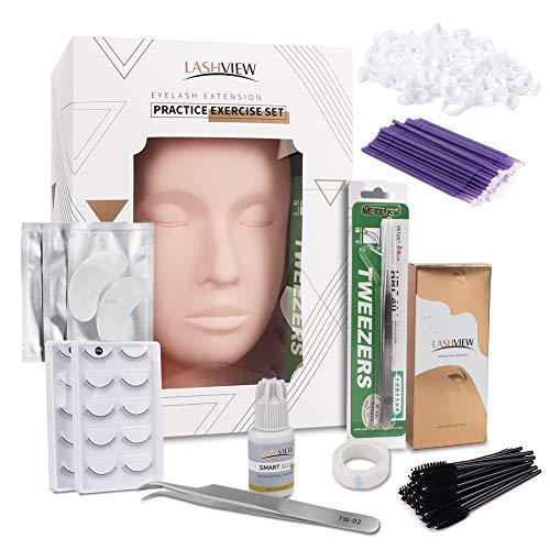 LASHVIEW Eyelash Extension Kit,with Mannequin Head,Lash Extension Supplies for Beginners,Professional Eyelash Extension Kit, for Makeup and Eyelash Graft.