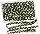 longshine-us 13 Yards 0.6 inch Elastic Sparkle Gleaming Ribbon Sequins Trim Spool String Applique Bridal Wedding Applique (Black+Gold)