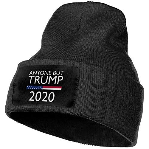 Cualquiera, Excepto Trump, Gorro cálido de Lana Tejida de Invierno, Gorro Grueso y Suave, Gorro caído, Gorro Unisex, Negro