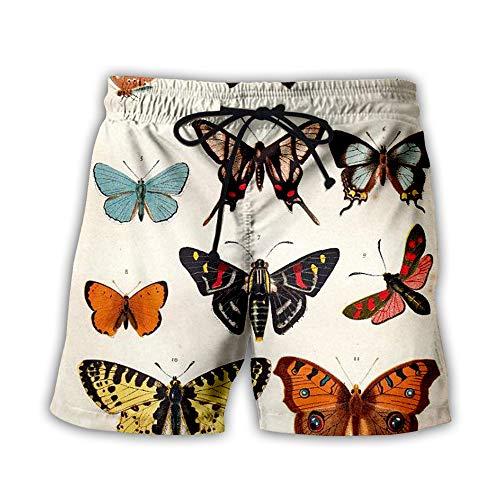 SevenLeo HombreTraje de BanoShort para Natacion Playa Piscina Flower Butterfly S