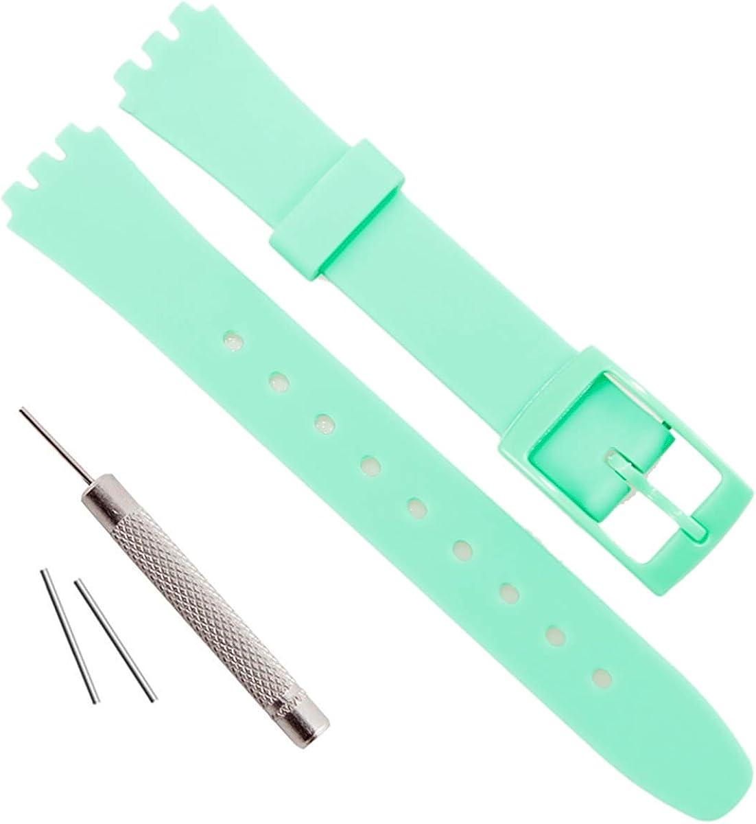 OliBoPo Correa de reloj de goma de silicona impermeable de repuesto 12 mm para Swatch
