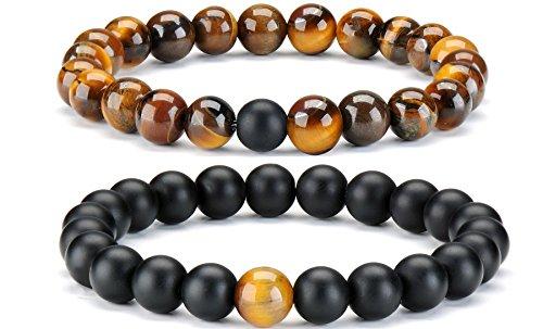 2 pcs Tiger Eye & Black Matte Agate Distance Bracelet for Men Women Couple Set