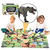 Dinosaur Toy - 12pcs Dinosaur Figures with Activity Play Mat to Create a Dino World,Educational Realistic Animal Playset Including T-Rex, Triceratops, Velociraptor,etc,Best Gift for Boys & Girls
