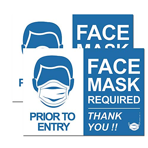 """FACE MASK Required"" Sign Removable Sign for Asking Customers to Wear Face Mask Business Door Sign (Horizontal Decal)"