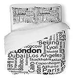 HATESAH Funda nórdica de 3 Piezas Tejido de Microfibra Patrón de Nombres de Ciudades de la Ciudad del Mundo con París Resumen de Viaje Barcelona Dubai El Juego de Cama 220 * 240cm