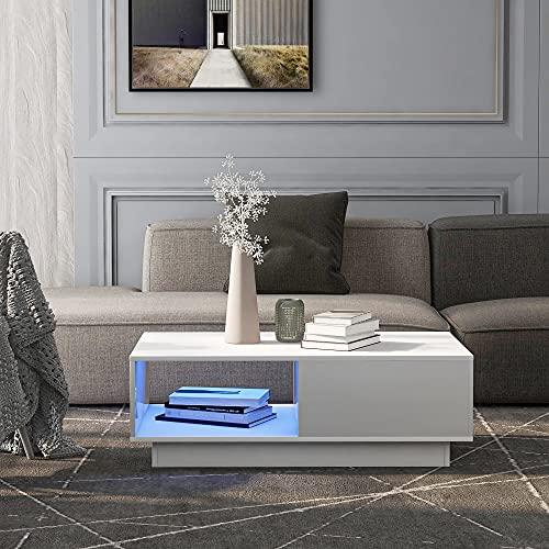 Couchtisch mit LED-Licht moderner Hochglanz-Sofatisch, rechteckiger Wohnzimmertisch Couchtisch Beistelltisch für Teetisch Haushaltsdekoration Weiß A (99 x 55 x 32 cm)