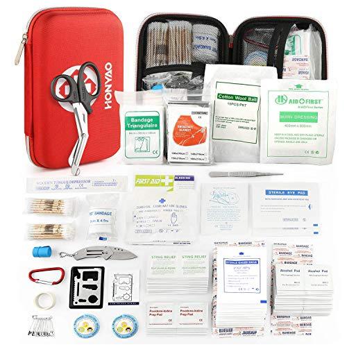 HONYAO Botiquín de Primeros Auxilios de 226 Artículos - Kit de Supervivencia Médica con Estuche Impermeable Peso Ligero para Viajes al Aire Libre Bote Automóvil Camión y Hogar