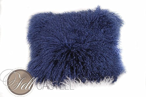 Kissenbezug Tibetlammfell Dark Blue Kissen Tibetlamm Dunkel-Blau 40 x 40 cm