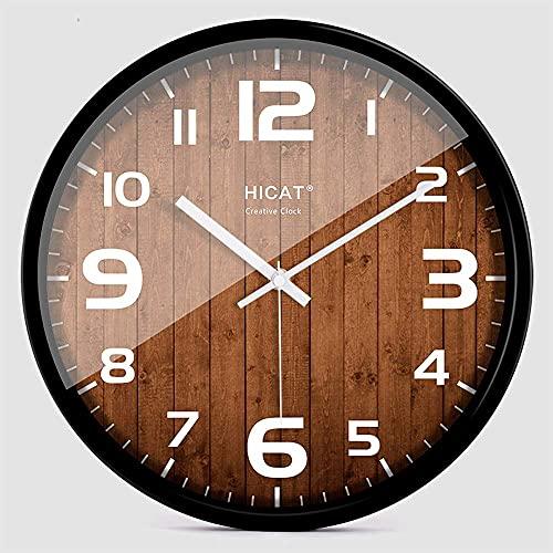Europeo creativo madera 12 pulgadas marco metal reloj de pared mute reloj de pared moderno elegante sala de estar personalidad dormitorio luz nórdica lujo