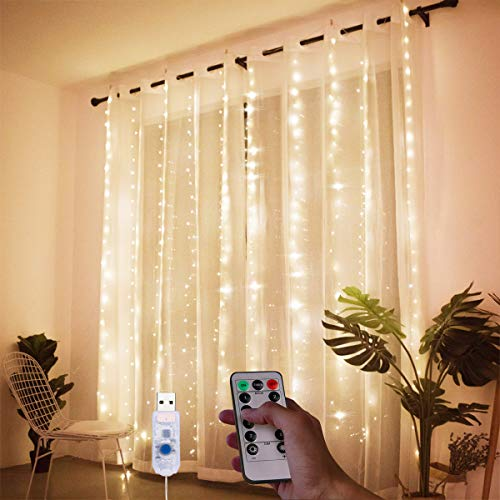 Laelr LED Curtain Lights USB LED String Lights Waterproof Fairy Lights 33m 300 LED Warm White Dimmable Timer 8 Lighting Modes Copper Wire with Remote Control for Bedroom Wedding Christmas Decoratio