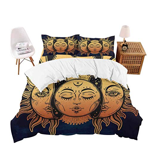 """AKLSNTAJNFK 3 Piece Bed Sheet Set, Luxurious Softest Premium Bed Sheet Set, Psychedelic Moon and, Extra Soft -Wrinkle Free - Comfy - Twins Sheets, King(104""""x90""""-20""""x36""""2)"""