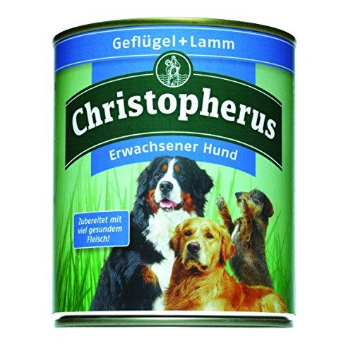 Christopherus Alleinfutter für Hunde, Nassfutter, Erwachsener Hund, Geflügel/ Lamm, Fleischmahlzeit 800 g