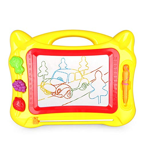 QFWM Drawing Board Erasable Colorful Magna Doodle Sketch Tablet Drawing Board Games Toys For Kids Education Writing Pad For Children And Toddlers (Color : Yellow)