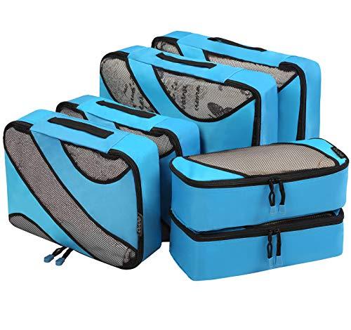 Amazon Brand - Eono 6 Teilige Kleidertaschen, Packing Cubes, Verpackungswürfel, Packtaschen Set für Urlaub und Reisen, Kofferorganizer Reise Würfel, Ordnungssystem für Koffer, Packwürfel - Blau