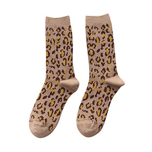 Figutsga - Calcetines de invierno para mujer, diseño de leopardo, color caqui