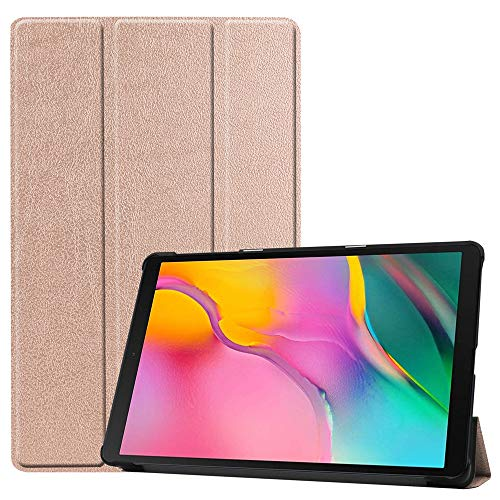 Slim Folding Case for Samsung Tab A 10.1''SM-T515/T510 (2019) ,【NOT Fit Tab A 10.1 SM-T580 2016】-DETUOSI Lightweight Shell Cover with Stand for Galaxy Tab A 10.1 2019 Version Tablet,Rose Gold