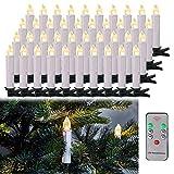 LARS360 Candele LED Luci Candele a LED Candele Senza Fiamma Candela Natale con Telecomando e Clip per Albero di Natale Decorazioni Feste Matrimonio (40 Bianco Caldo Candele LED, Con Batteria)