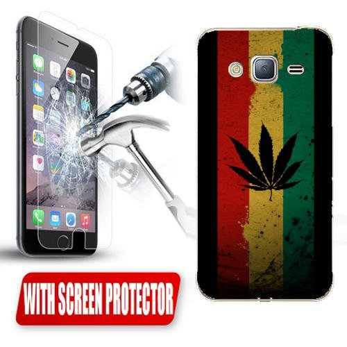 Custodia Cover Case Marijuana Flag per Samsung Galaxy J3 2016 + Pellicola Vetro