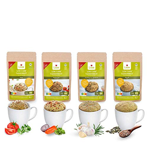 Lizza Low Carb Mug Bread Trial Set| Up To 87% Less Carbs | Organic. Gluten-Free. Vegan. | Keto, Atkins & Diabetic Friendly | High in Protein & Fibre | Low Sugar | 4 Flavours | 8 Mug Breads