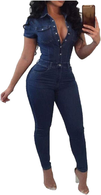 Zimase Women Button Up Slimming Short Sleeves Denim Jumpsuits Romper