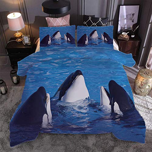 N / A 3D Printed Duvet Cover Killer Whale 3D Printed Bedding Set With Zipper Closure 3 Pieces Hypoallergenic Soft Microfiber.140X200Cm