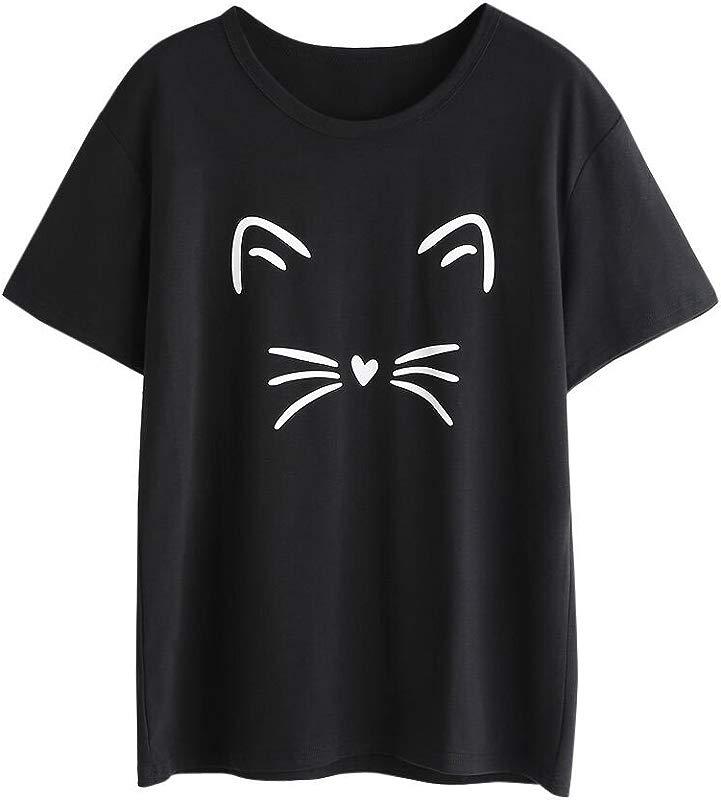 Women S Fashion Crewneck Short Sleeve T Shirt 2019 Summer Ladies Cotton Casual Cat Printed Loose Blouse Tops