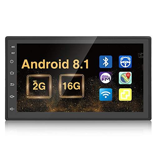 Doppel Din Autoradio Android 2G + 16G Quad Core in Dash GPS Navigation, Autoradio 7 Zoll Touchscreen MP5 Video Player Unterstützung BT USB WLAN Car Audio mit kostenloser Rückfahrkamera