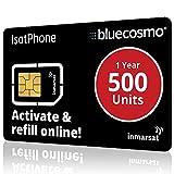 BlueCosmo IsatPhone - Tarjeta SIM de servicio prepago para teléfonos satélite, 500 unidades, para...