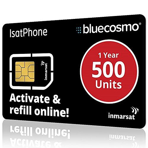 BlueCosmo Tarjeta SIM de prepago de Isatphone Inmarsat 5: 500 Unidad SIM (385 Minutos / 1 año)