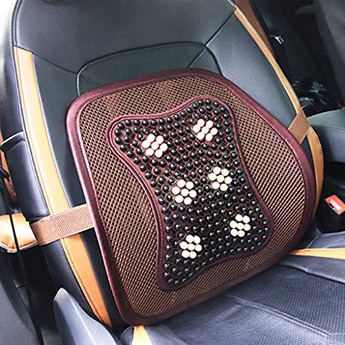 ZCY 2 stuks autostoelhoezen, zomer massage taille, houten kralen ademend zitkussen, bureaustoel lendenkussen stoel bekleding 0925 C