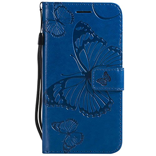 DENDICO Cover Galaxy J3 2016, Pelle Portafoglio Custodia per Samsung Galaxy J3 2016 Custodia a Libro con Funzione di appoggio e Porta Carte di cRossoito - Blu