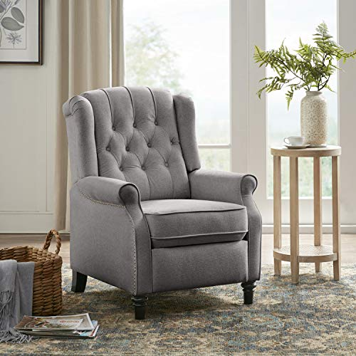 YANXUAN Pushback Recliner Chair, Tufted Armchair with Padded Seat, Backrest,Nailhead Trim, Gray