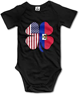 American Haitian Flag Shamrock Printed Baby Girls Short-Sleeved Bodysuit Jumpsuit Outfits